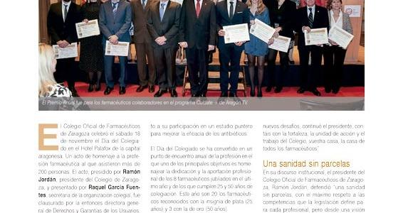 Premio Anual del Colegio Oficial de Farmacéuticos de Zaragoza por la colaboración en el programa de Aragón TV, Cuidate+
